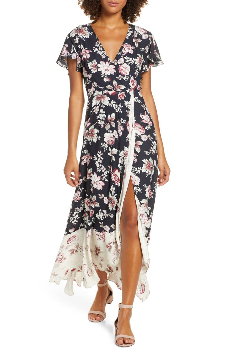 FRENCH CONNECTION Aletta High/Low Maxi Dress, Main, color, BLACK/CLASSIC CREAM