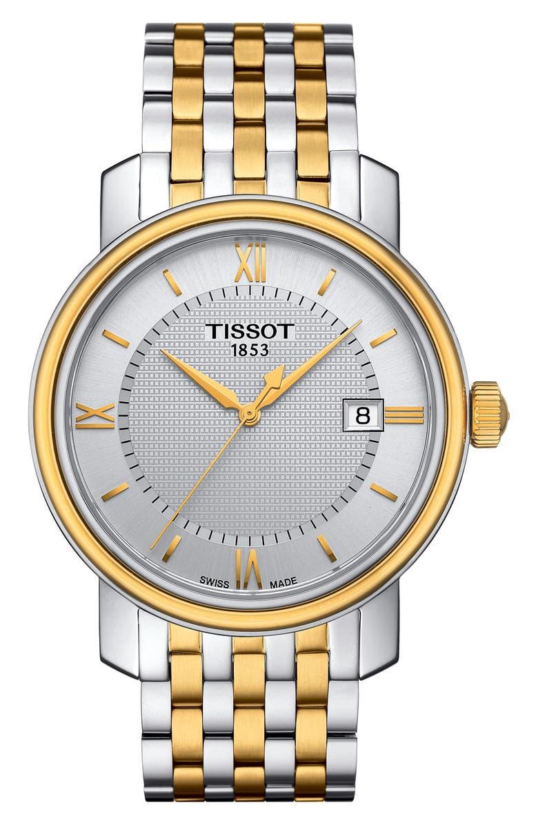 TISSOT Bridgeport Bracelet Watch, 40mm, Main, color, SILVER/ GOLD