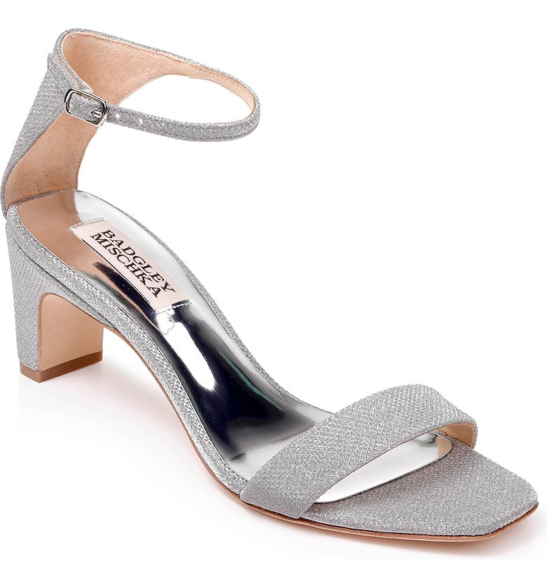 BADGLEY MISCHKA COLLECTION Badgley Mischka Aida Metallic Ankle Strap Sandal, Main, color, SILVER GLITTER FABRIC