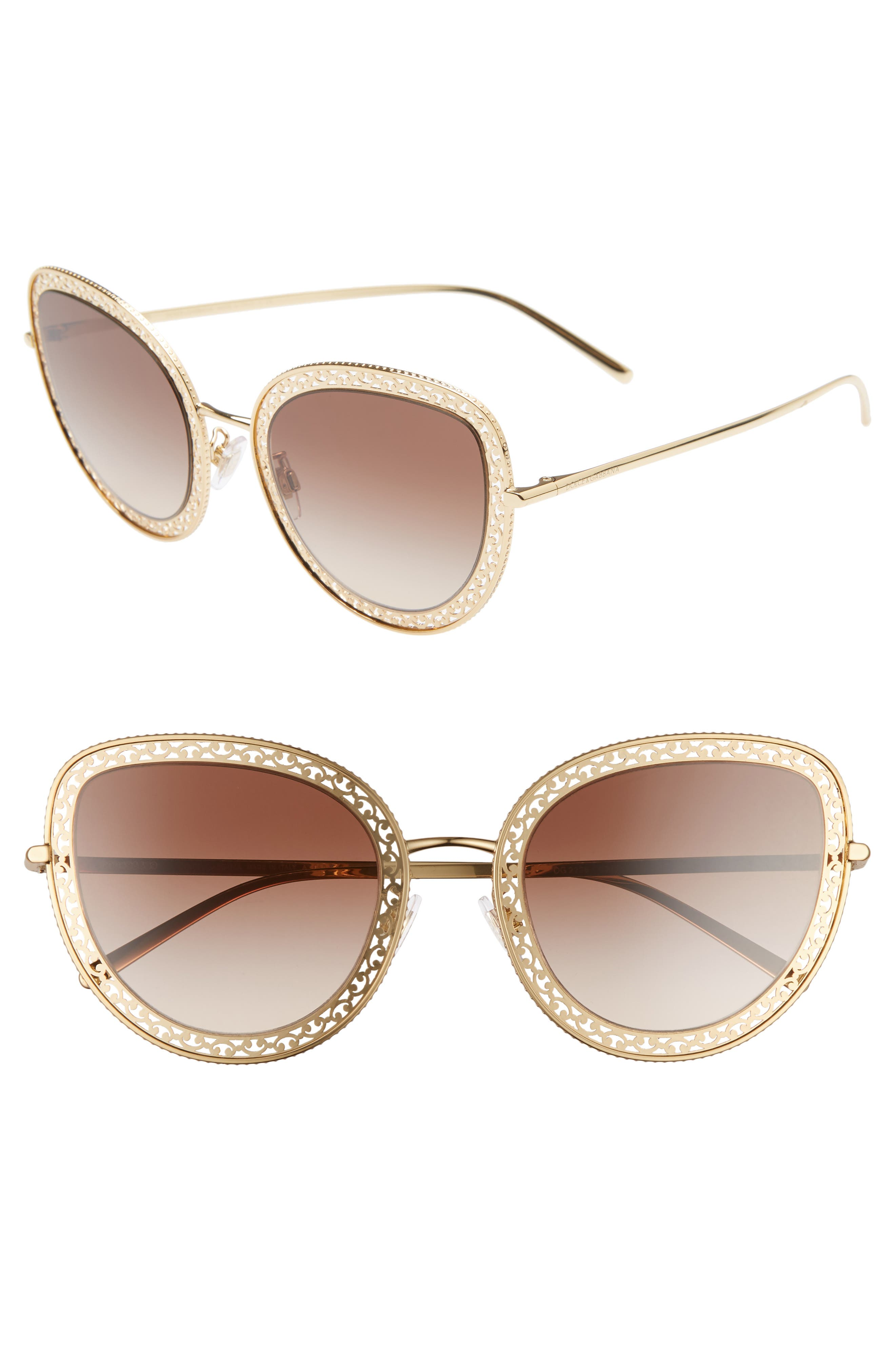 Dolce & gabbana 5m Cat Eye Sunglasses - Gold/ Brown