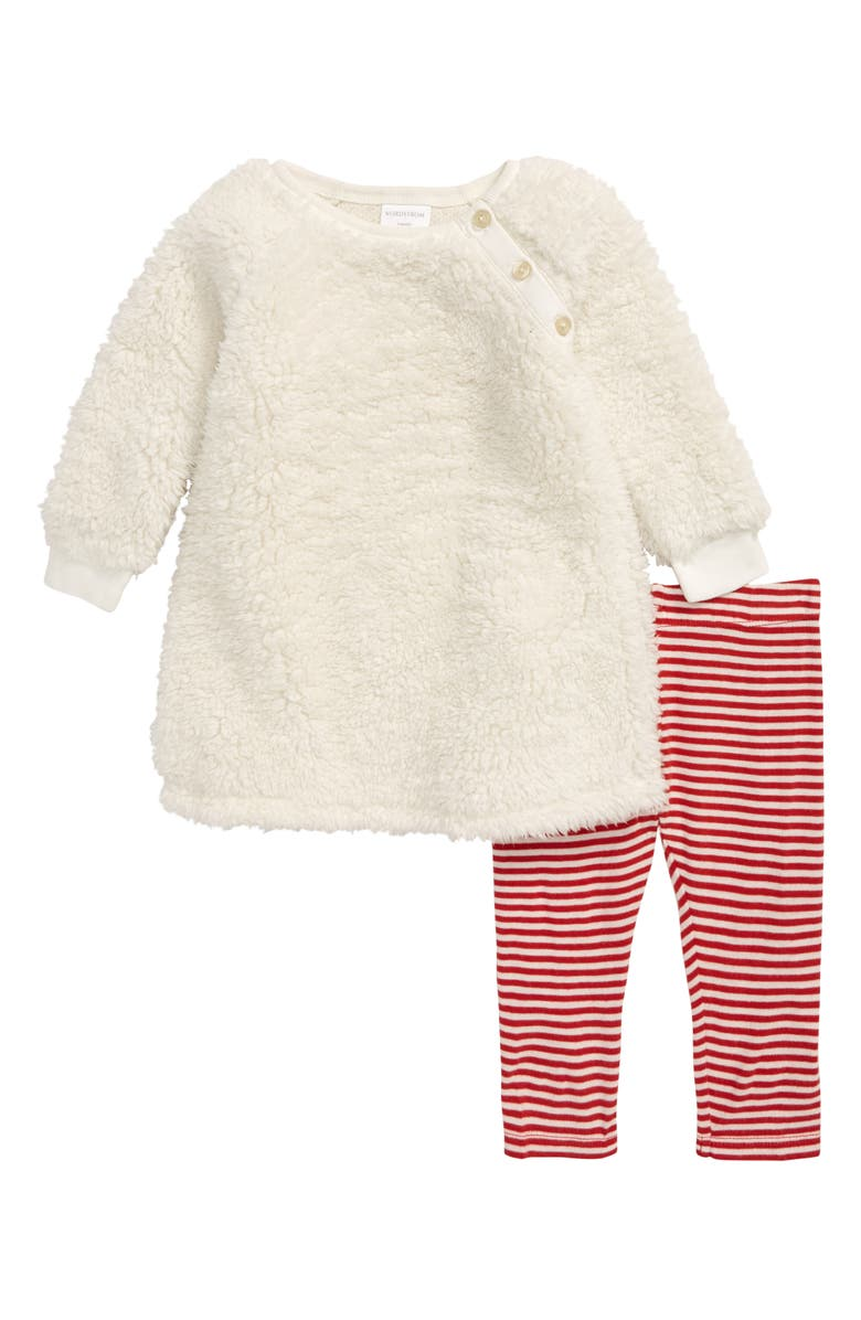 NORDSTROM Two-Piece Teddy Bear Dress & Leggings Set, Main, color, IVORY EGRET- RED STRIPE