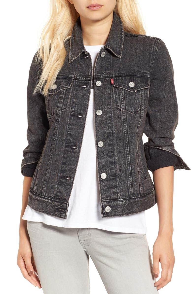 LEVI'S<SUP>®</SUP> 'Boyfriend' Denim Trucker Jacket, Main, color, 001