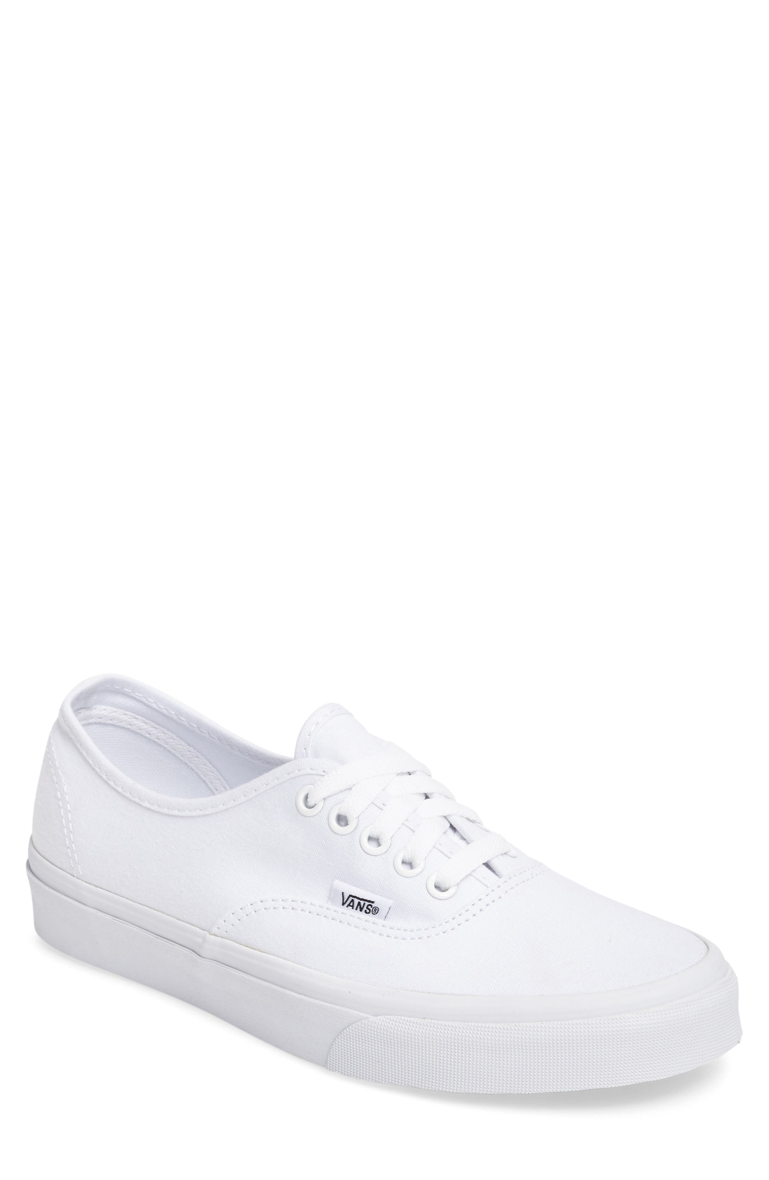 all white low top vans