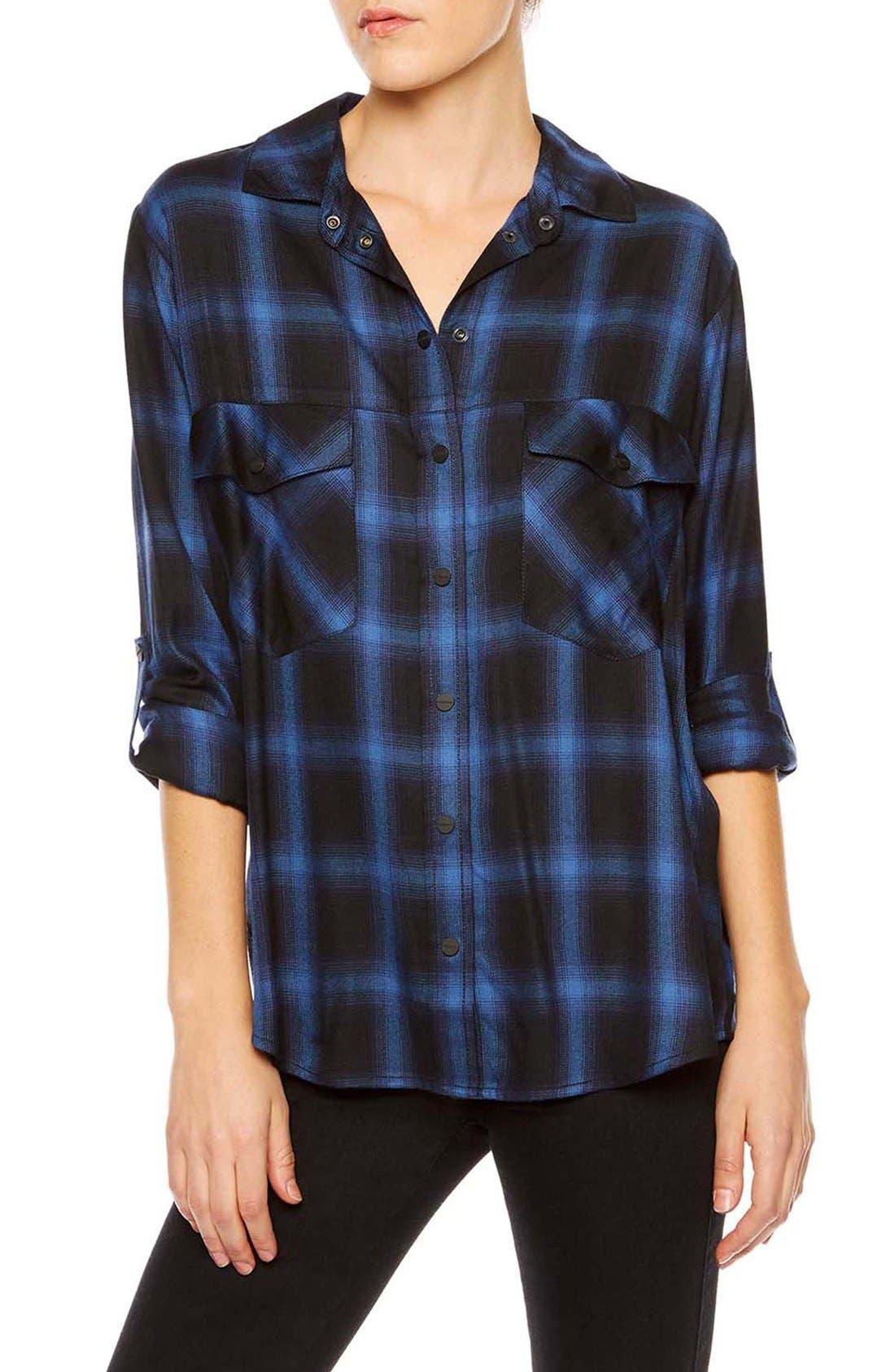 ,                             Plaid Flannel Boyfriend Shirt,                             Main thumbnail 7, color,                             497