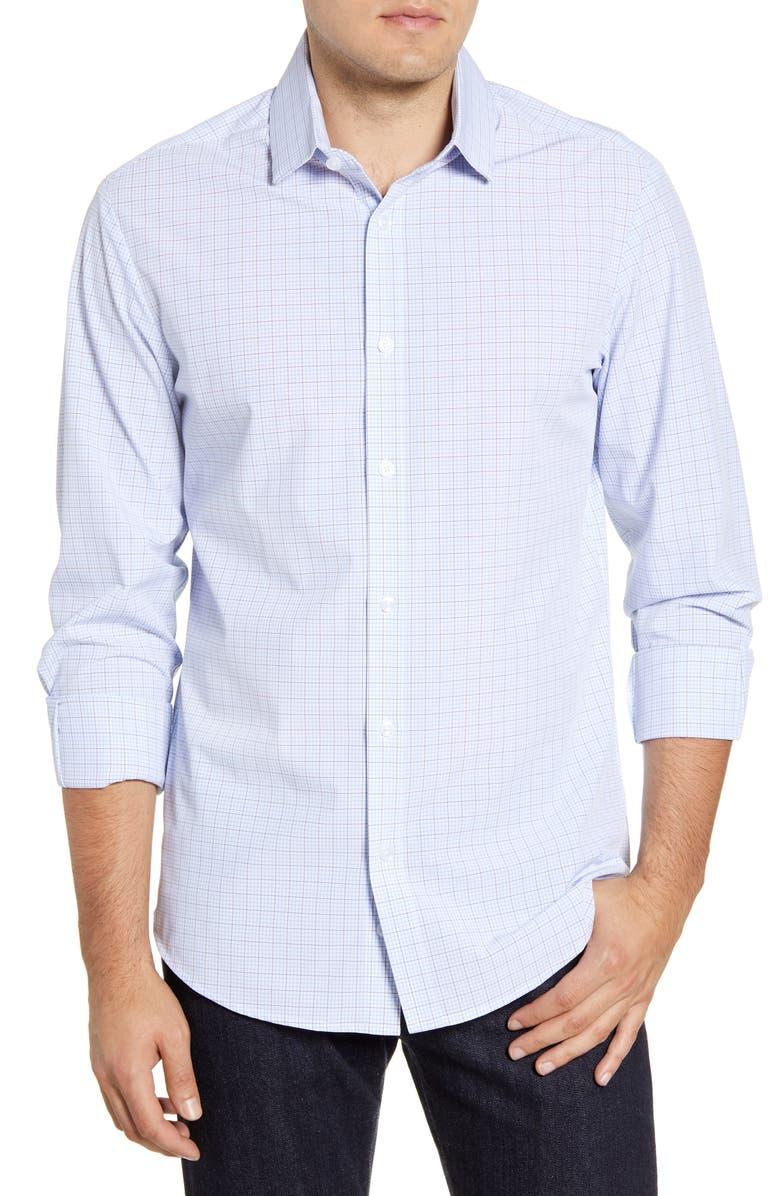 MIZZEN+MAIN Dixon Tattersall Performance Button-Up Shirt, Main, color, BLUE
