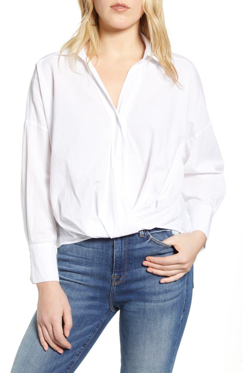 STATESIDE Twist Front Poplin Shirt, Main, color, 100