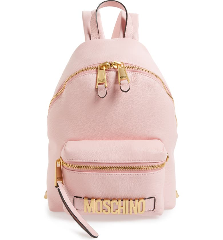 MOSCHINO Logo Leather Backpack, Main, color, 651