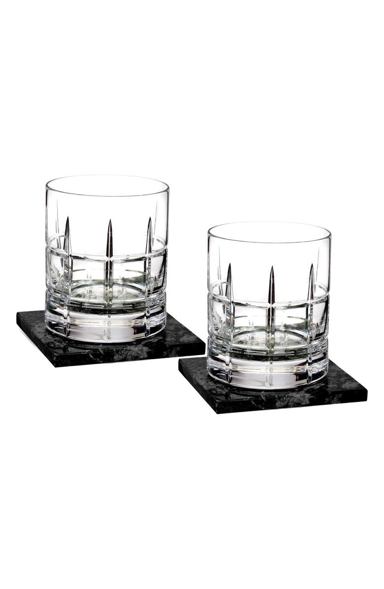 WATERFORD Cluin Set of 2 Lead Crystal Double Old Fashioned Glasses with Coasters, Main, color, 100