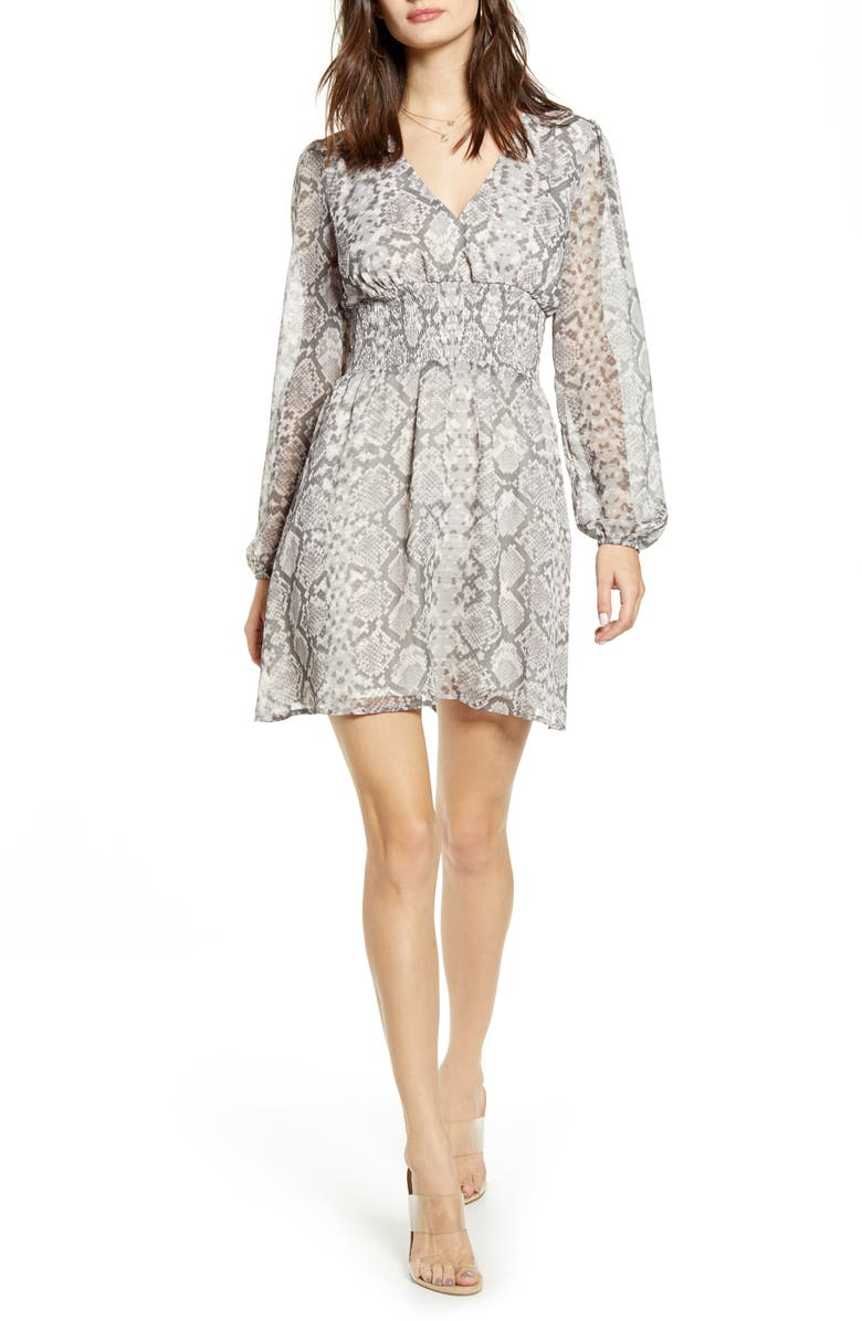 LEITH Smocked Waist Floral Print Long Sleeve Minidress, Main, color, GREY MARBLE SNAKESKIN