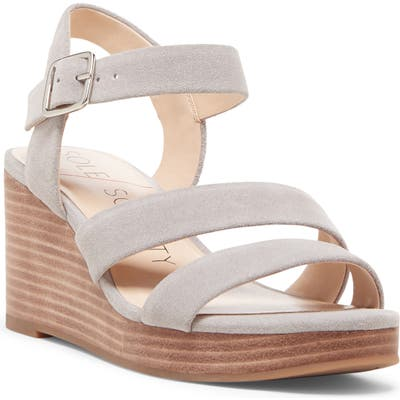 Sole Society Charvi Platform Wedge Sandal, Grey