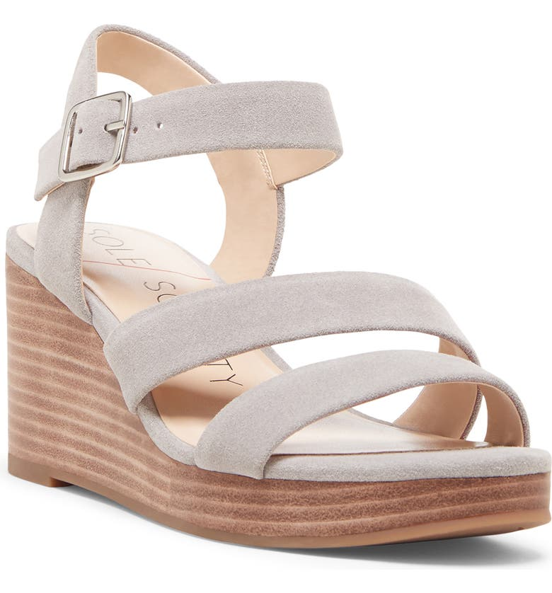 SOLE SOCIETY Charvi Platform Wedge Sandal, Main, color, SOFT GREY SUEDE