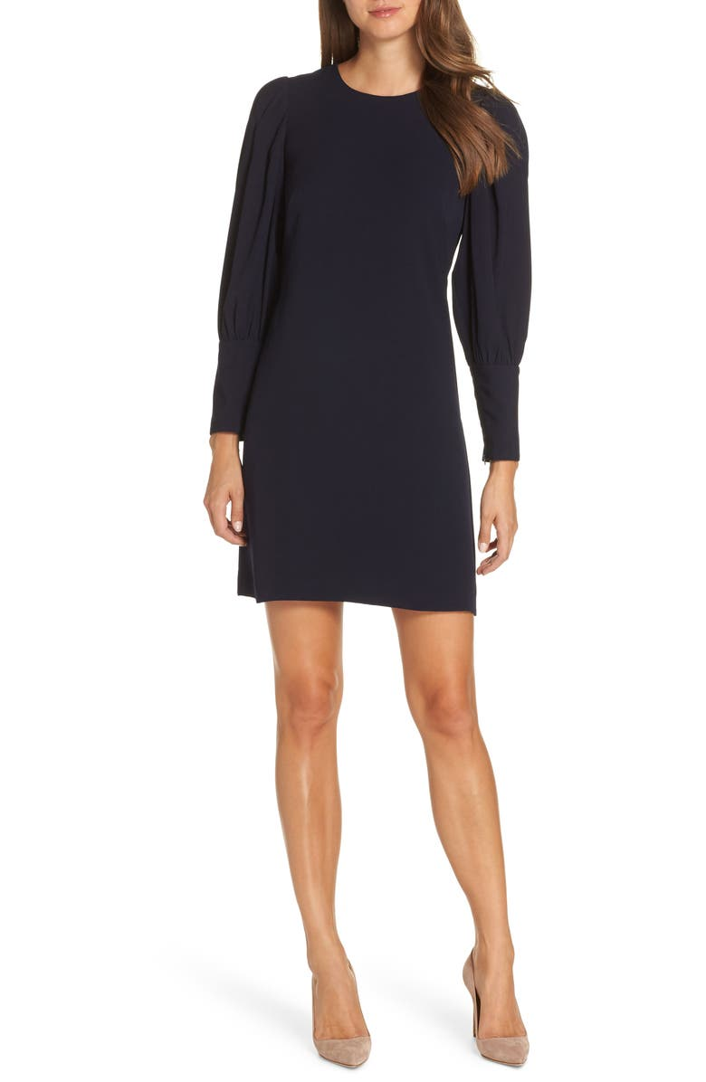 ELIZA J Balloon Sleeve Crepe Shift Dress, Main, color, 410