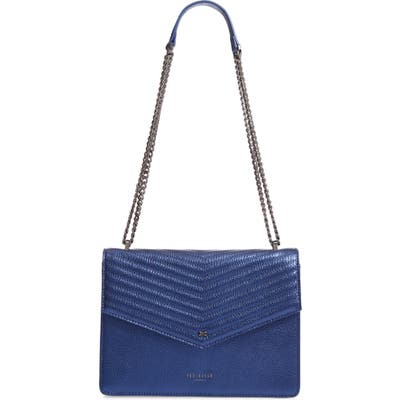Ted Baker London Kamille Metallic Leather Shoulder Bag - Blue