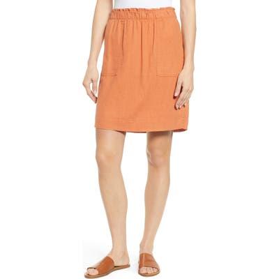 Petite Caslon Paperbag Waist Linen Blend Skirt, Brown