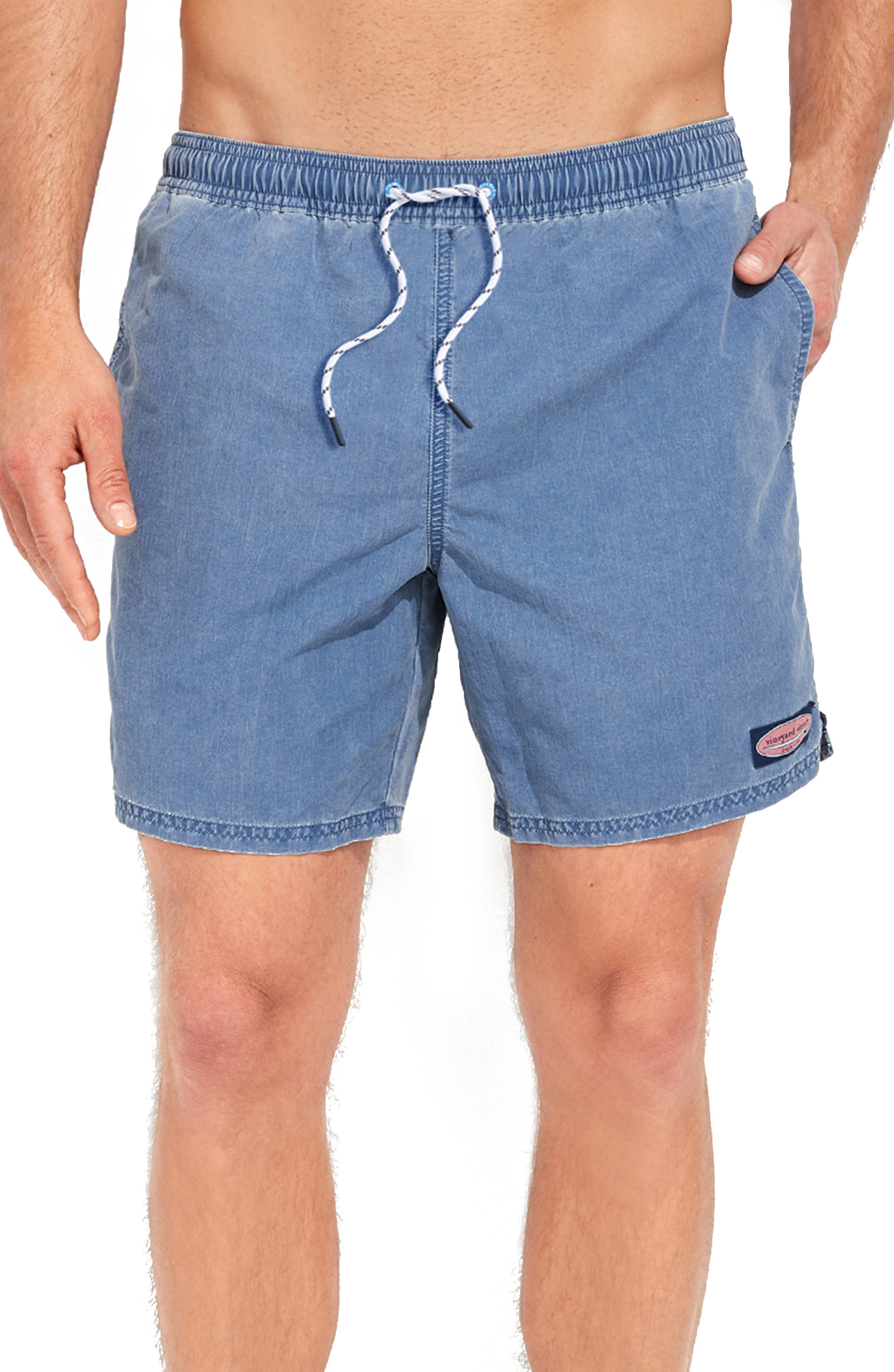 Stay comfortable in and out of the water in these trunks made from breathable, faded nylon that feels softer than anything else in the brand\\\'s swim collection. Style Name: Vineyard Vines Island Chappy Swim Trunks. Style Number: 6076529. Available in stores.