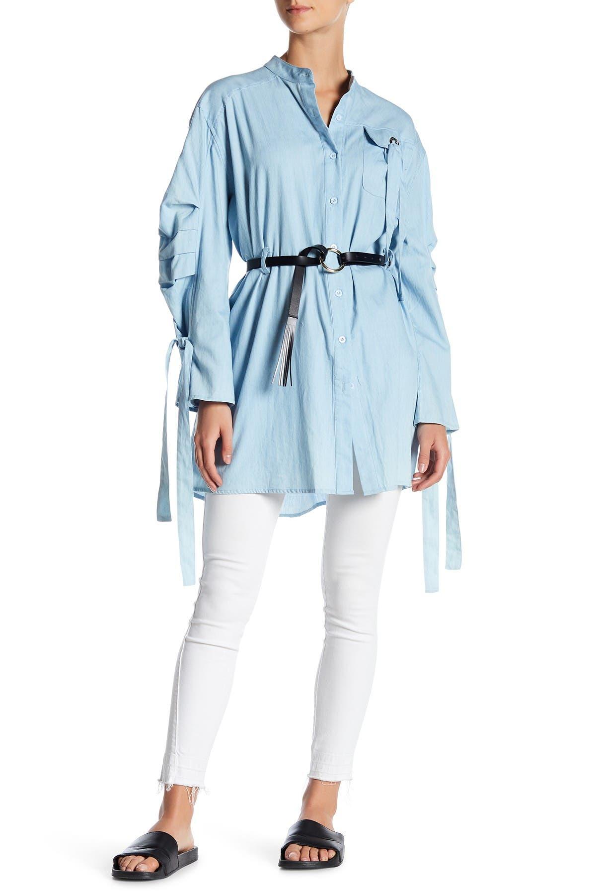 Image of TOV Mandarin Collar Cinched Waist Blouse