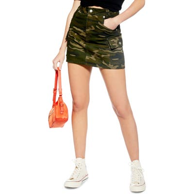 Topshop Camo Utility Skirt, US (fits like 6-8) - Green