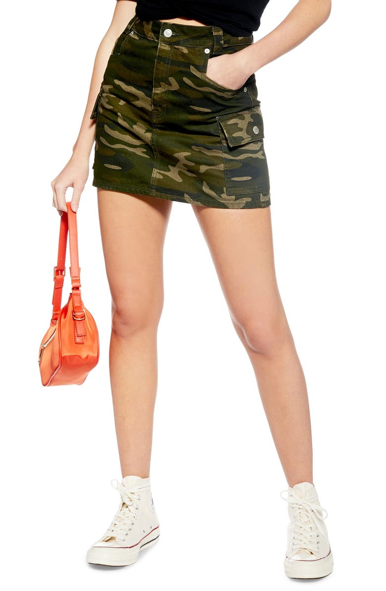 TOPSHOP Camo Utility Skirt, Main, color, OLIVE MULTI