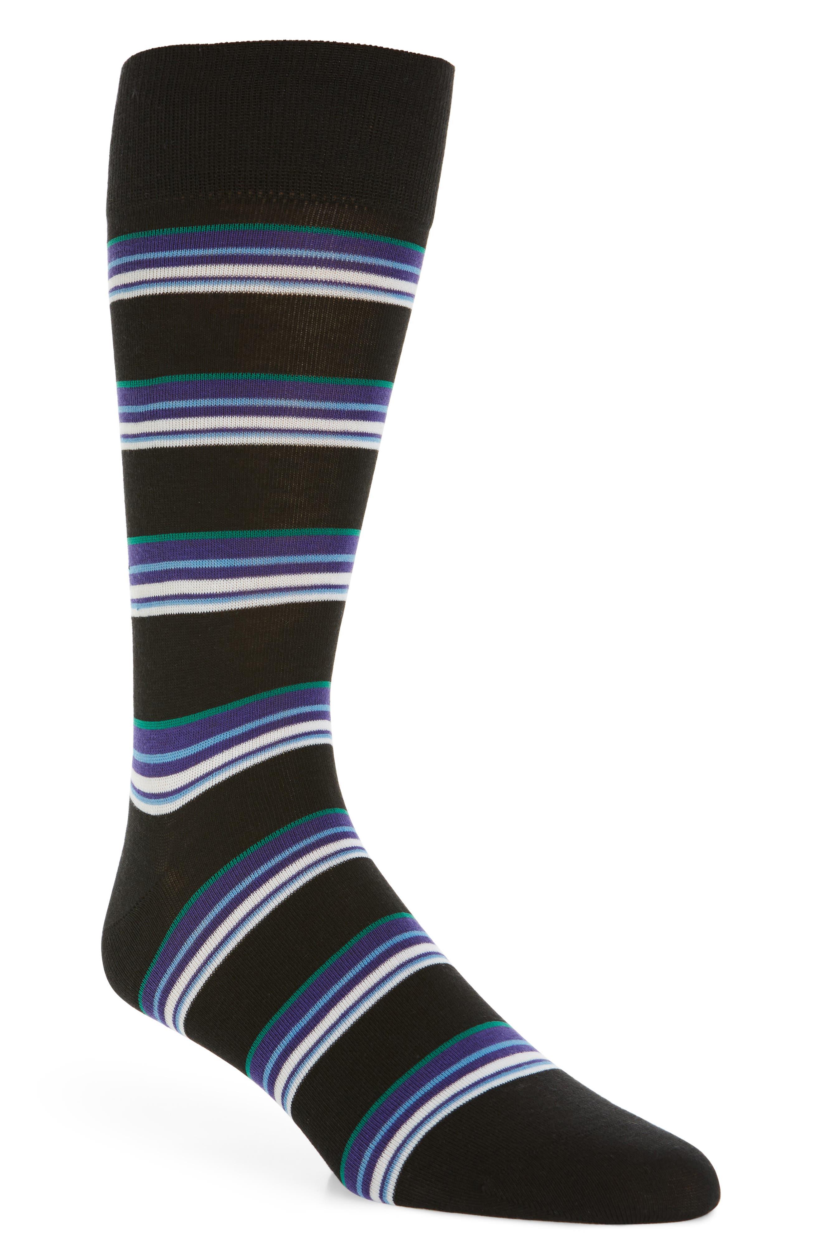 Block Stripe Crew Socks, Main, color, BLACK
