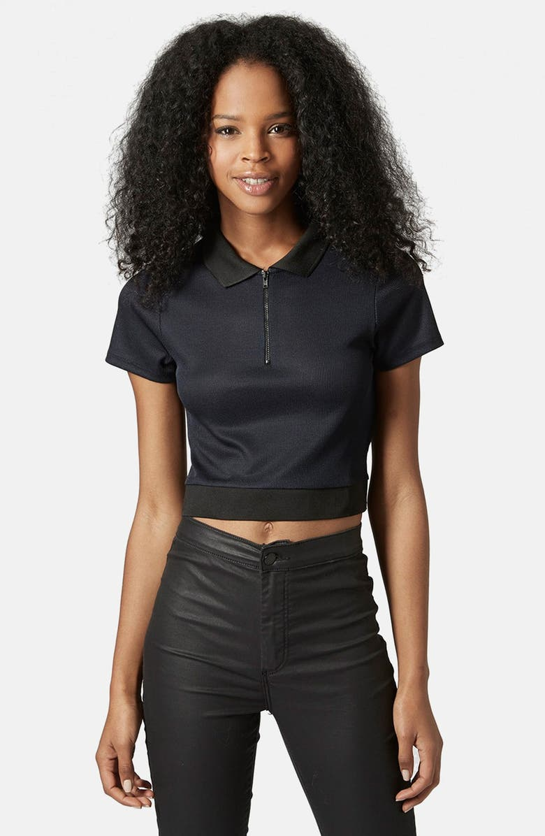 TOPSHOP Crop Polo Shirt, Main, color, 410