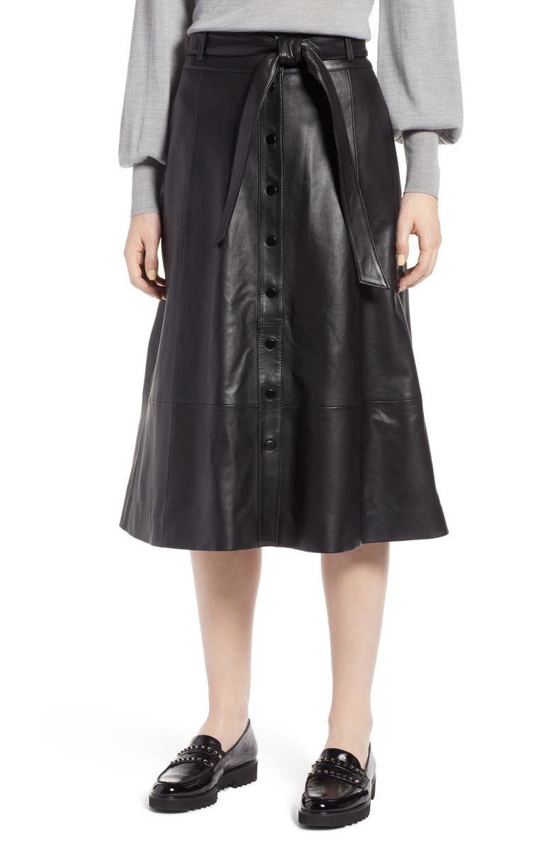 c3ed022ee Halogen® Button Front Leather Midi Skirt (Regular & Petite) | Nordstrom