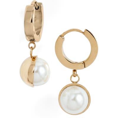 Knotty Imitation Pearl Huggie Drop Earrings