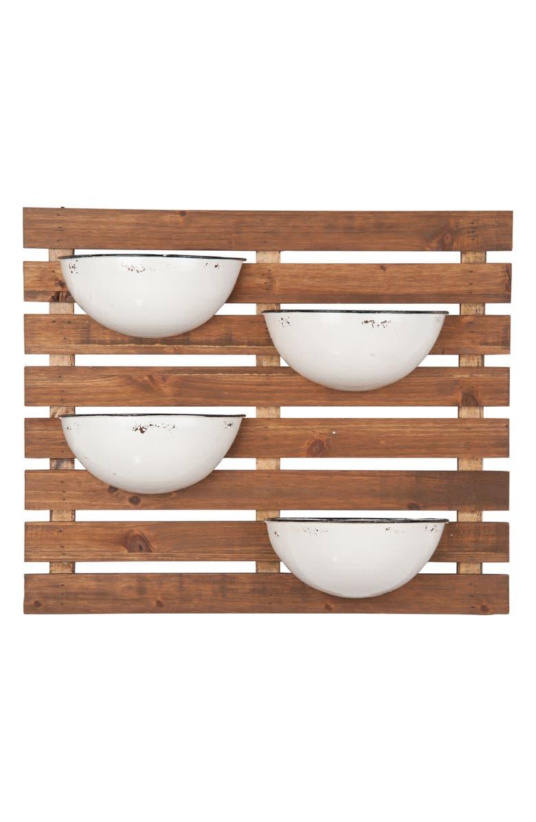 FORESIDE Enamel Pot Wall Planter, Main, color, BROWN/WHITE/BLACK