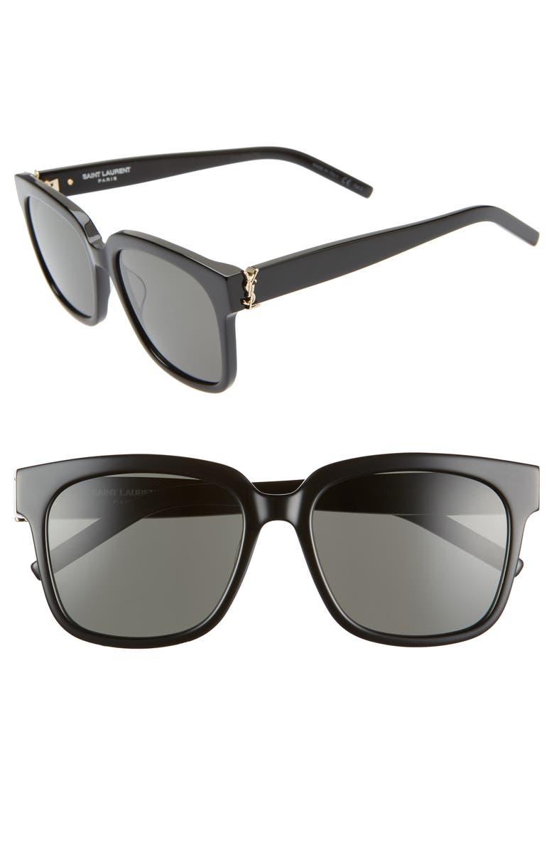 SAINT LAURENT 54mm Square Sunglasses, Main, color, BLACK/ GREY