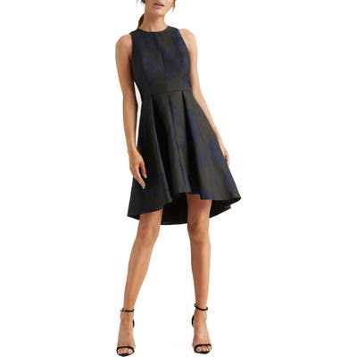 Halston Heritage Floral Jacquard Fit & Flare Dress, Black