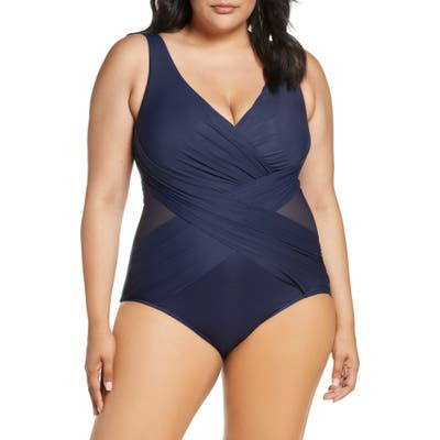 Plus Size Miraclesuit Illusionist Crossover One-Piece Swimsuit, Blue