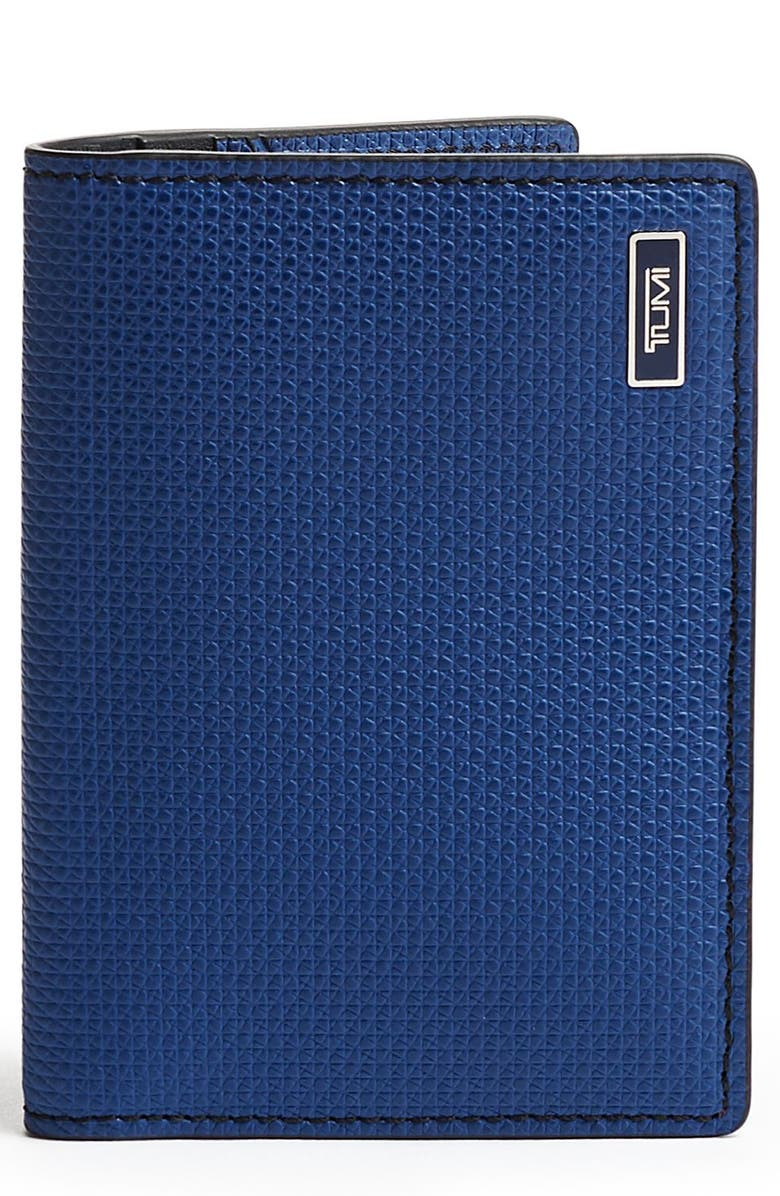 TUMI Monaco Folding Leather Card Case, Main, color, NAVY