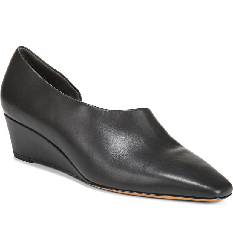 VINCE Barolo Half d'Orsay Wedge Pump, Main, color, BLACK LEATHER