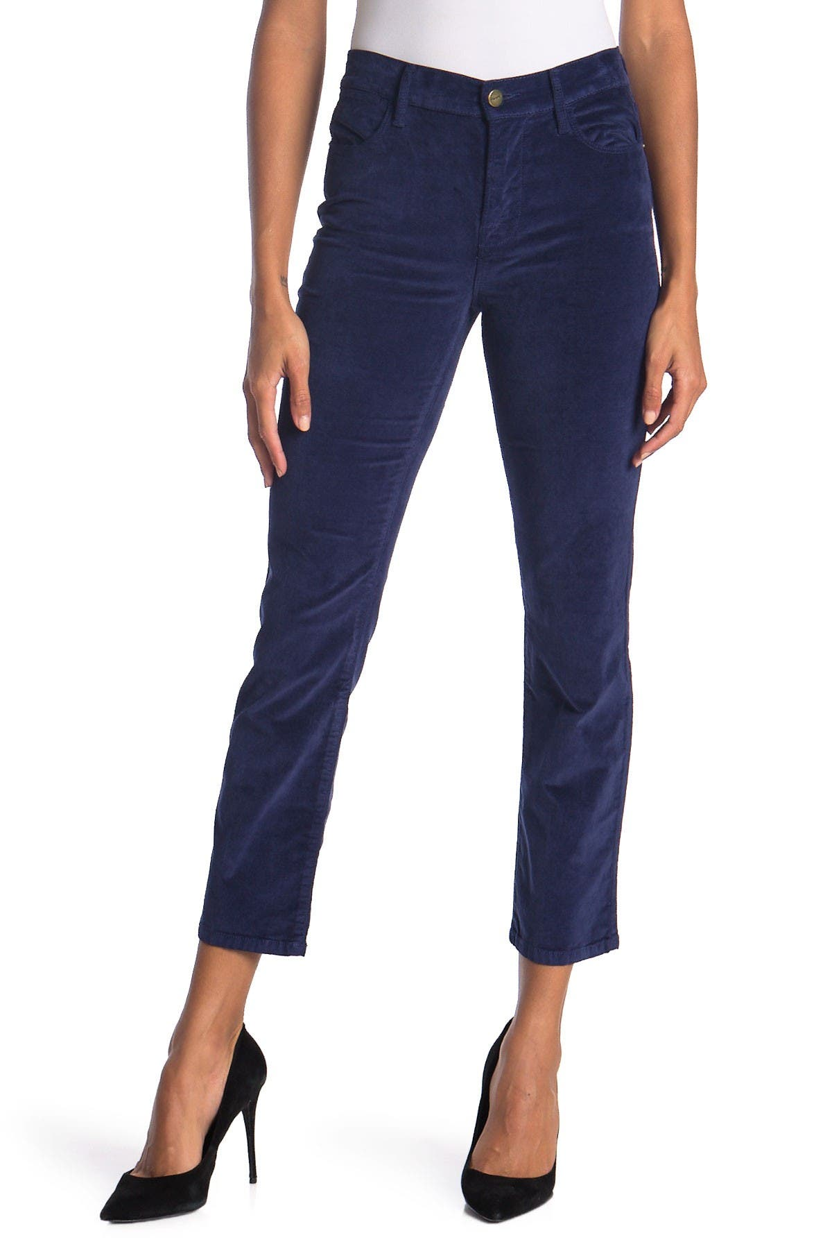 Image of FRAME Le High Velveteen Ankle Crop Straight Pants