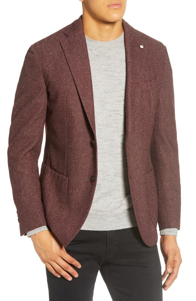 L.B.M. 1911 Trim Fit Solid Wool Blend Sport Coat, Main, color, PURPLE