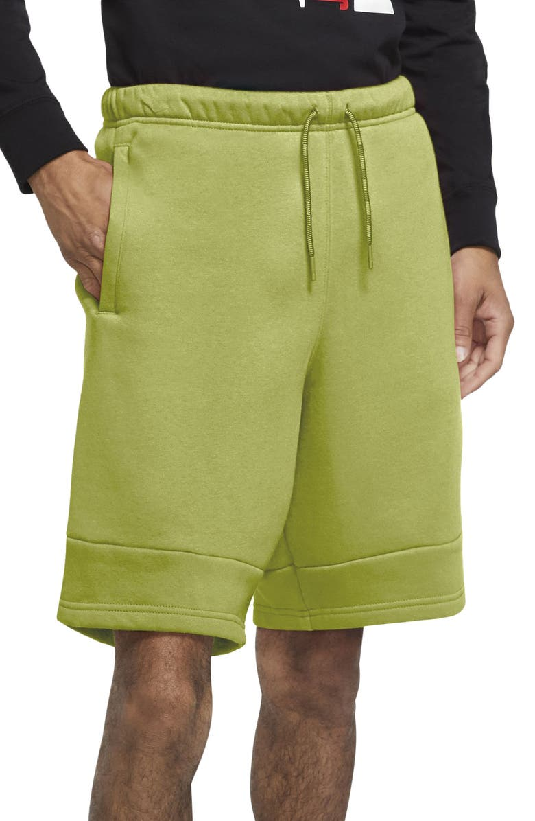 NIKE Jordan Jumpman Air Fleece Drawstring Shorts, Main, color, LIMELIGHT/ LIMELIGHT/ SUNSET