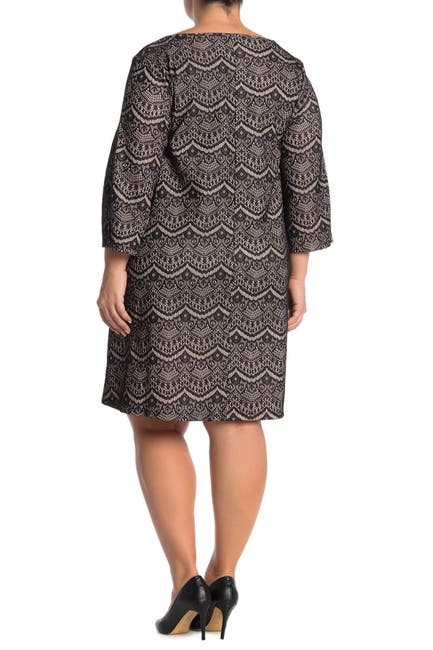 Image of Nina Leonard Jewel Neck 3/4 Sleeve High Tech Dress