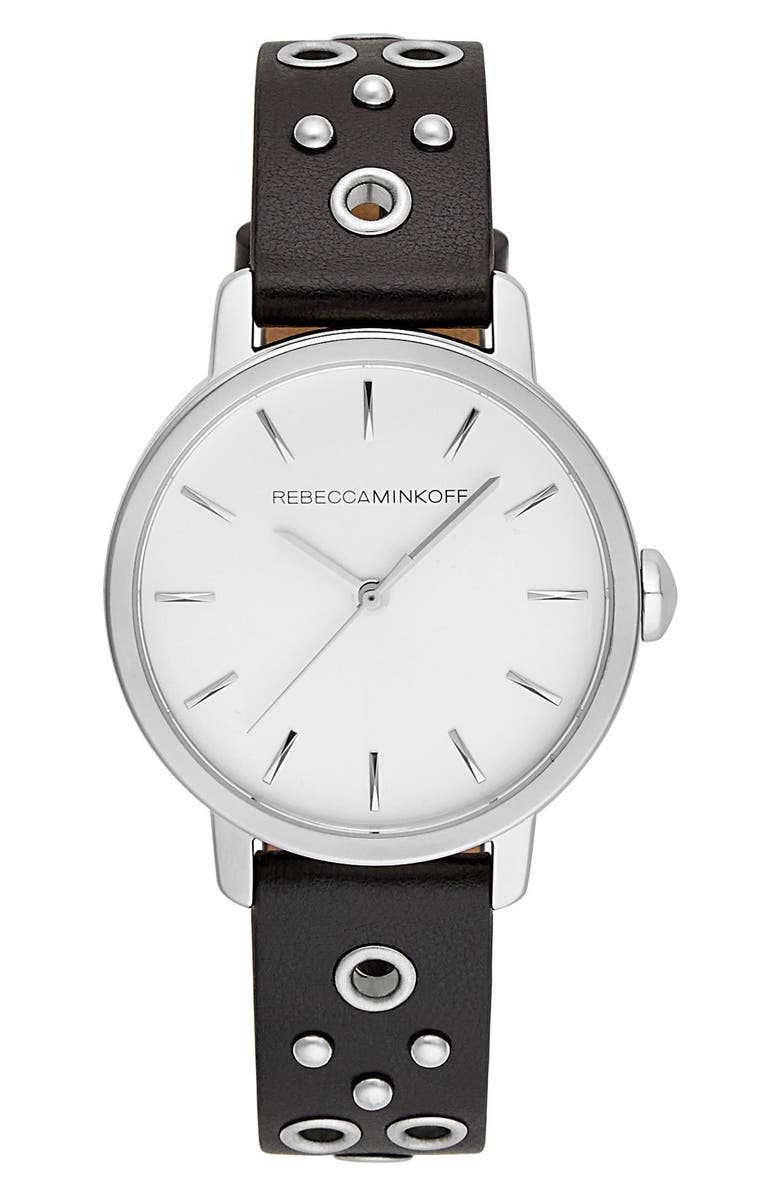 REBECCA MINKOFF BFFL Embellished Leather Strap Watch, 36mm, Main, color, 001
