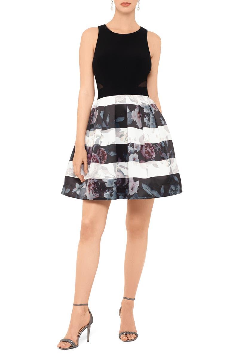 XSCAPE Floral Stripe Fit & Flare Dress, Main, color, BLACK/ IVORY