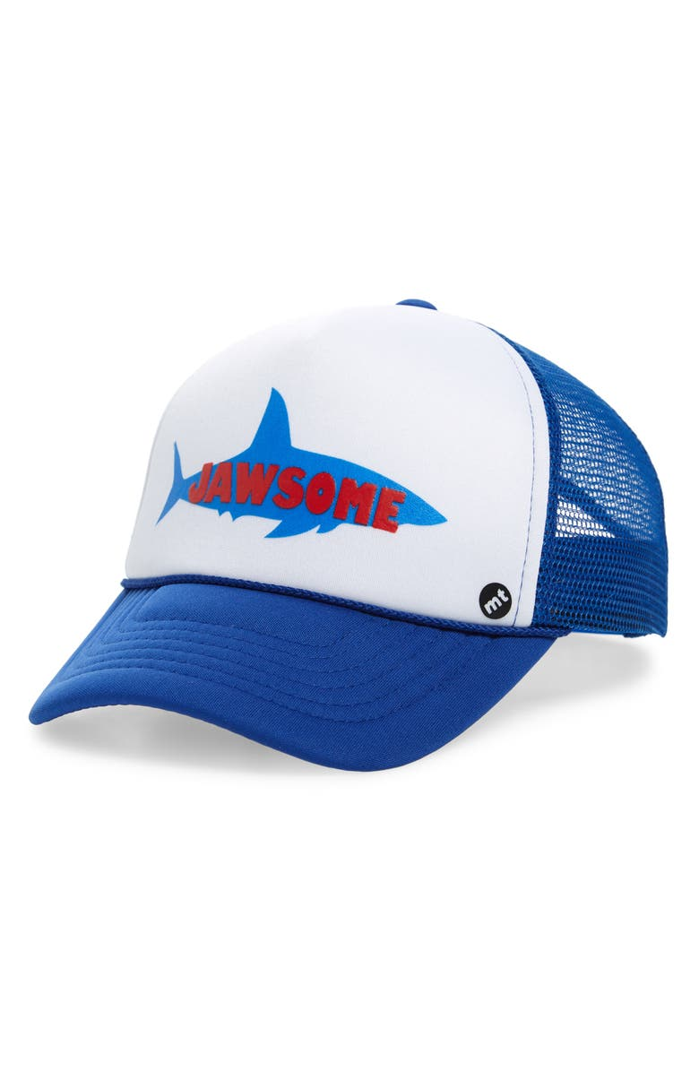 MOTHER TRUCKER & CO. Jawsome Trucker Hat, Main, color, ROYAL/ WHITE