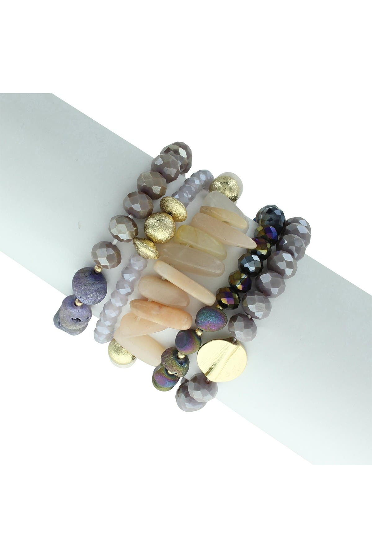 Image of Olivia Welles Kacy Bead & Stone Stretch Bracelet Set - Set of 5