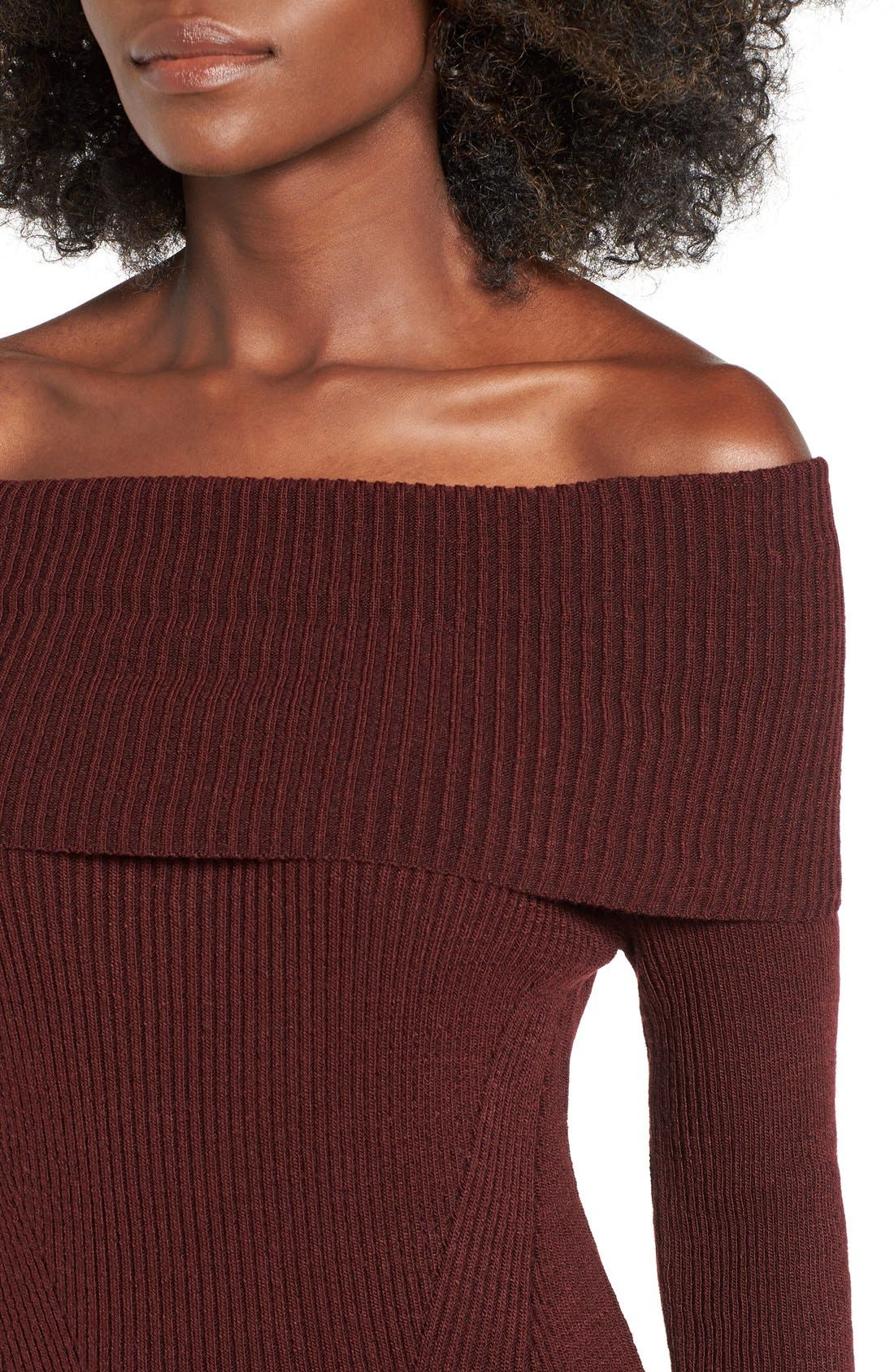 ,                             Off the Shoulder Knit Body-Con Dress,                             Alternate thumbnail 8, color,                             930