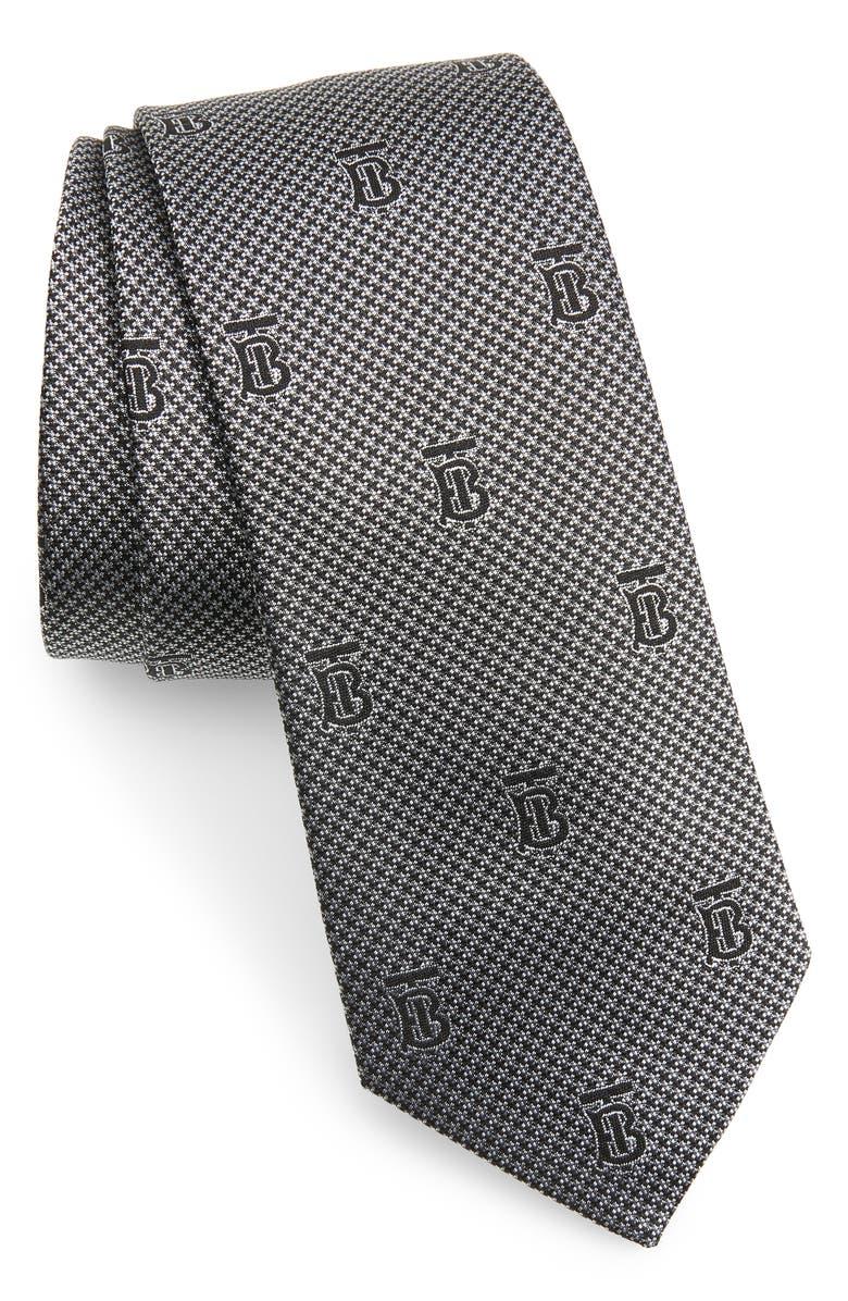 BURBERRY Manston Monogram Silk Tie, Main, color, PEARL GREY