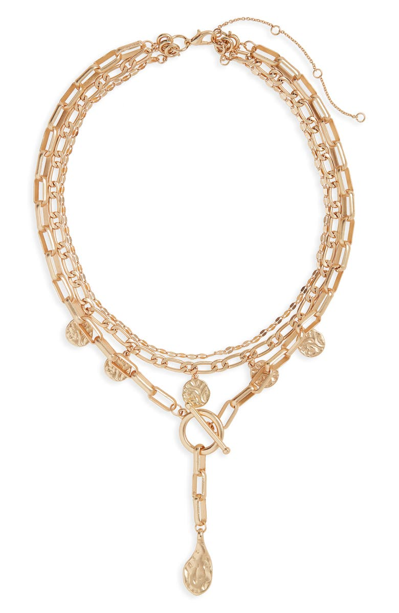 BP. Hammered Disc & Chain Link Layered Necklace, Main, color, 710