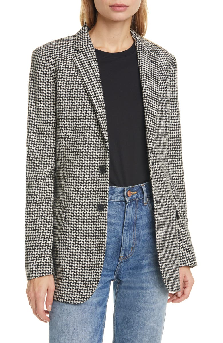 POLO RALPH LAUREN Houndstooth Wool Blend Blazer, Main, color, BLACK/ WHITE HOUNDSTOOTH