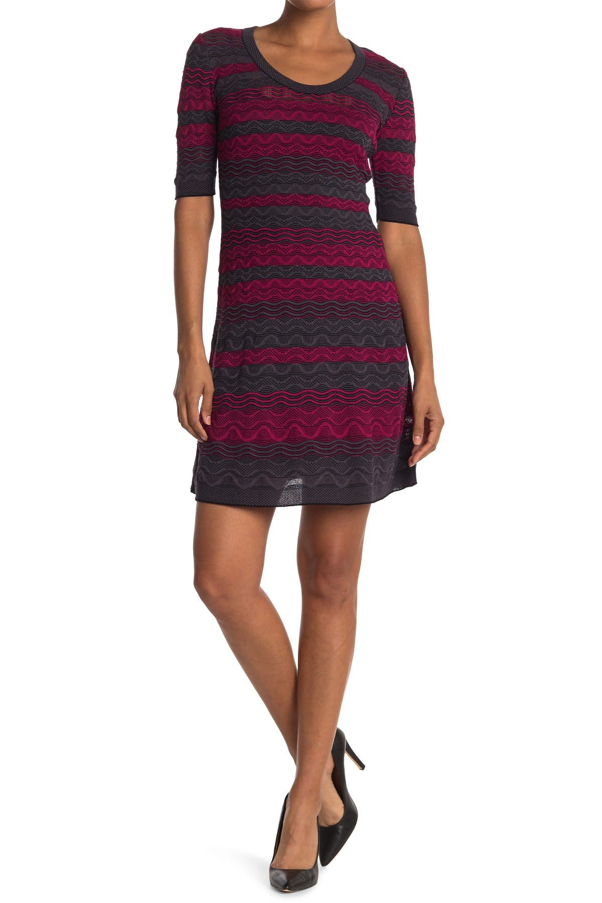 Image of M Missoni Patterned Elbow Sleeve Dress
