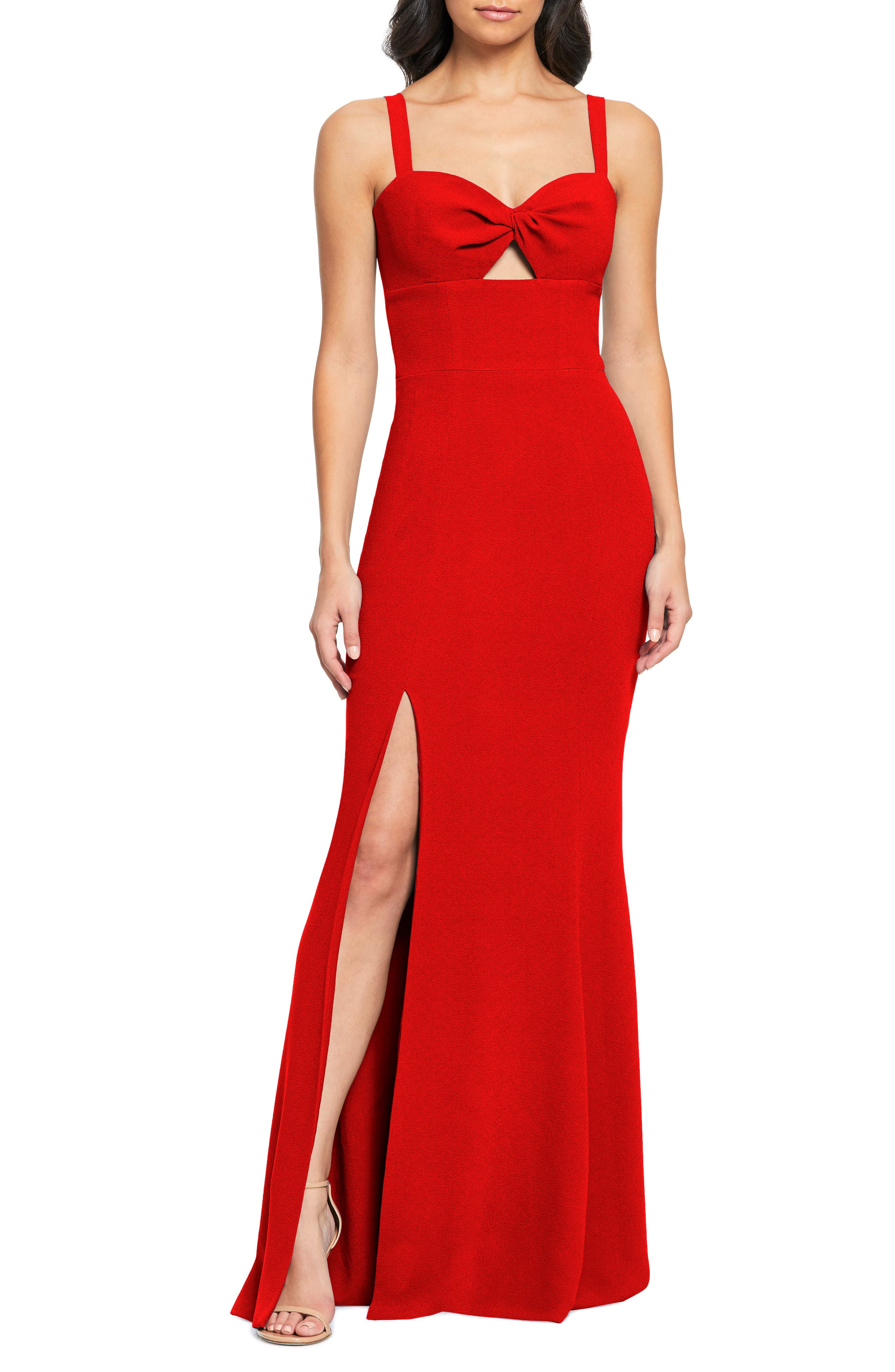 Dress The Population Brooke Twist Front Gown, Red