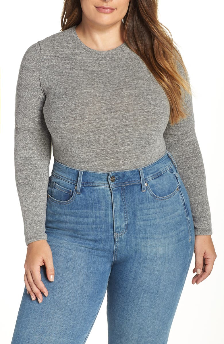 MADEWELL Crewneck Bodysuit, Main, color, HEATHER SMOKE
