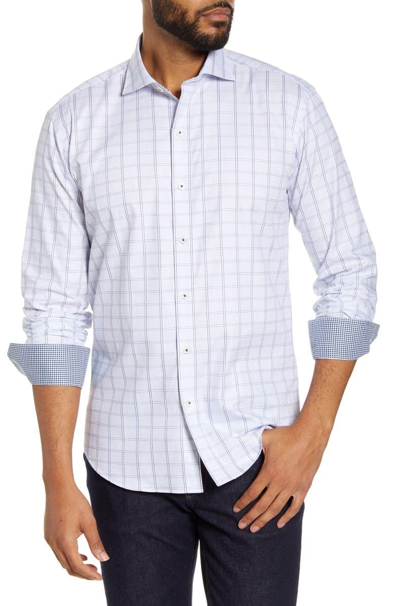 BUGATCHI Shaped Fit Windowpane Button-Up Shirt, Main, color, WHITE