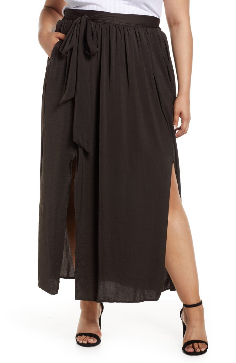 BOBEAU Dual Slit Maxi Skirt, Main, color, CHARCOAL GREY