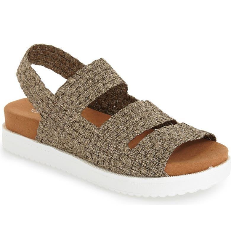 BERNIE MEV. 'Crisp' Woven Platform Sandal, Main, color, BRONZE FABRIC